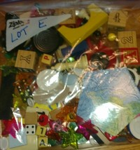 one pound toy game piece token junk drawer Lot E mixed media art - $17.81