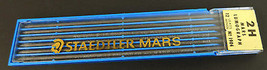 Vtg Box of 12 Leads Staedtler Mars Lumograph Drawing Leads 2H - $9.85