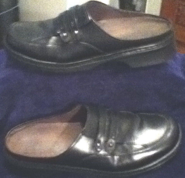 Clarks Black Leather Slip-ons/Clogs w/ Double Cross StrapsSize: 9.5