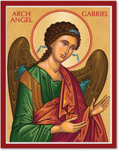 "Cretan-Style Archangel Gabriel Icon - 8"" x 10""  Wooden Plaques With Lumina Gold"