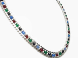 "Sterling 17"" Onyx Agate Carnelian Roma Riccio Necklace Black Red Green Blue - $85.00"