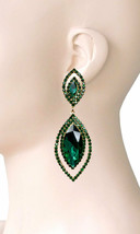 "3"" Long Marquise Green Crystals Clip On Earrings, Costume Jewelry, Weddi... - $16.10"