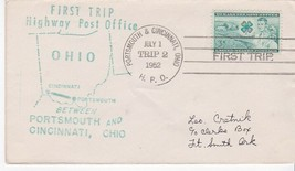 FIRST TRIP H.P.O. PORTSMOUTH & CINCINNATI OHIO JULY 1 1952 TRIP 2 - $1.78