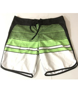 "Micros Mens 34"" Swim Trunks Board Shorts Black White Lime Green Striped S1 - $23.38"