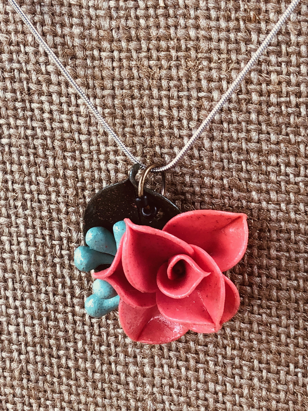 Coral Salmon Pink Clay Rose Pendant w/Blue Seeded Eucalyptus & Forest Green Rusc