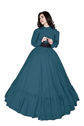 Civil War Reenactment Victorian Garibaldi 3 Piece Dress (S/M, Teal)