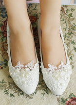 Wedding shoes for bride low heel,Wedding shoes ivory,Wedding shoes lace Size UK - $38.00