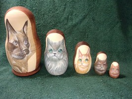 """Vintage Nesting Dolls - Cats ( 5 different kinds) - 5 Piece - 7"""" Tall   ... - $64.35"""