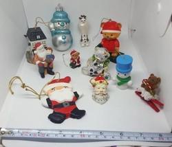 11 piece mixed lot Christmas Xmas tree ornaments:  Santa, Snowman, Bear + more - $37.04