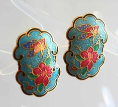 Elegant Aqua Cloisonne Enamel Butterfly &  Flower Pierced Earrings 1970s... - $14.95