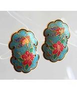 Elegant Aqua Cloisonne Enamel Butterfly &  Flower Pierced Earrings 1970s... - $14.95