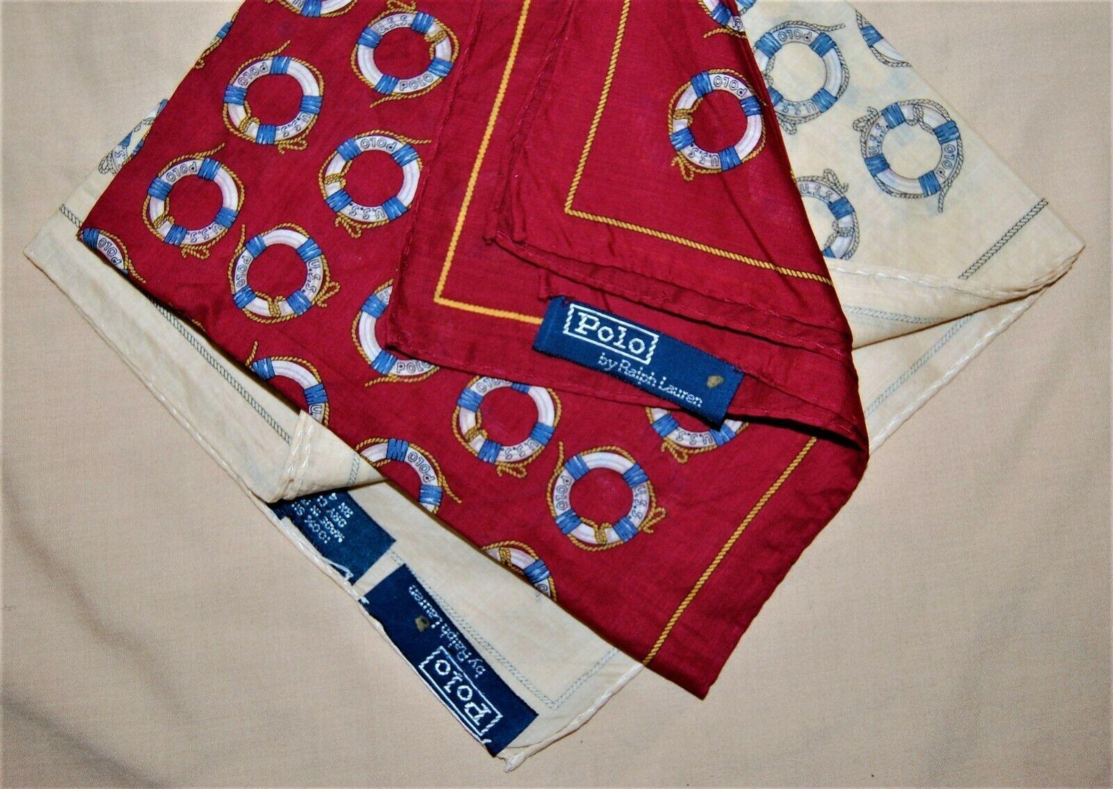Two Vintage Polo Ralph Lauren Silk Handkerchiefs Pocket Squares Life Preserver
