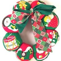 Plush Fabric Christmas Wreath Holiday Fabric Green Red Hanging Decor - $7.52