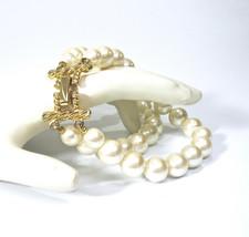 Pearl Bracelet, Double Strands, White Pearls, Glass Pearls, Wedding, Bri... - $19.50