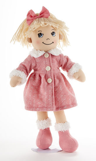 Blonde Hair Apple Dumplin Doll, Pink Math Motif Coat, 14, Delton