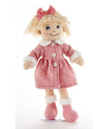"Blonde Hair Apple Dumplin Doll, Pink Math Motif Coat, 14"", Delton - $24.45"