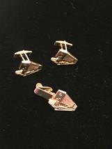 Vintage 60s gold Mercury Industries 18 wheeler tie bar and cufflink set