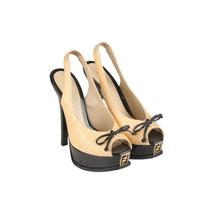 Authentic Fendi Raffia Patent Leather Slingback Pumps Heels Shoes Size 36 - $287.10