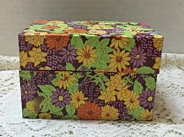Retro Recipe Card Box Tin Box Bright Floral Pattern Syndicate Co. Vintag... - $7.50