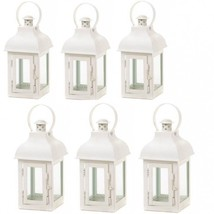 6 Small Lantern White Ivory Mini Candleholder Hanging Wedding Centerpieces - $54.40