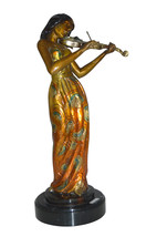 "Girl Playing the violin Bronze Statue -  Size: 10""L x 7""W x 19""H. - $450.00"