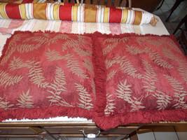Pair of Burgundy Gold Leaf Print Throw Pillows  18 x 18 - $59.95