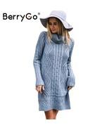 BerryGo Turtleneck high split knitting sweater women Autumn winter long ... - $46.99
