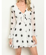 Fashion Womens Fit Flare Mesh Sleeve Dot Print Illusion Dresses White Size - $35.98