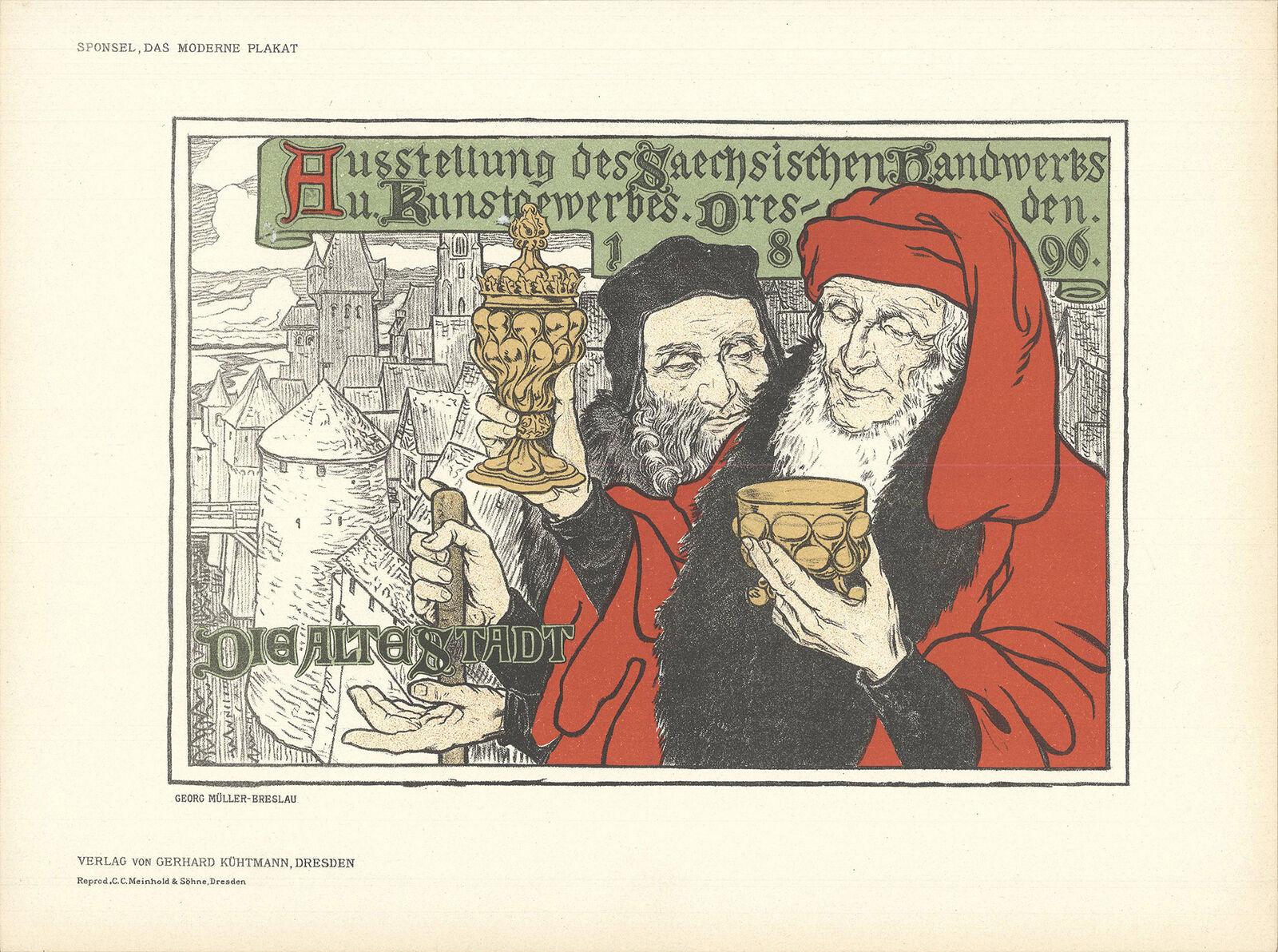 """GEORG MULLER-BRESLAU Dresden, Die Alte Stadt 8.25"""" x 11.5"""" Lithograph 1897 - $173.25"""