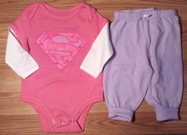 Girl's Size 3-6 M Months Two Piece Pink Glitter Super Girl L/S Top, Purple Pants - $13.00