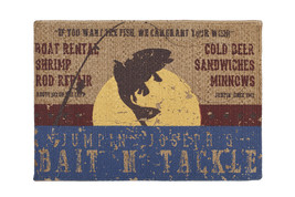 Olivia's Heartland Bait & Tackle fishing cabin welcome door mat throw RU... - $44.99