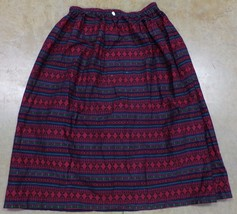Native American Design Print Skirt Women Large Red HandMade - $27.99