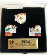 1998 Nagano Olympics Coca Cola Pin Set Hockey Snowboarding Curling COLLE... - $29.55