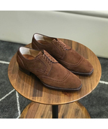 Handmade Men's Brown suede Dress Shoes, Men Patina Crafted Leather Men's... - $169.97+