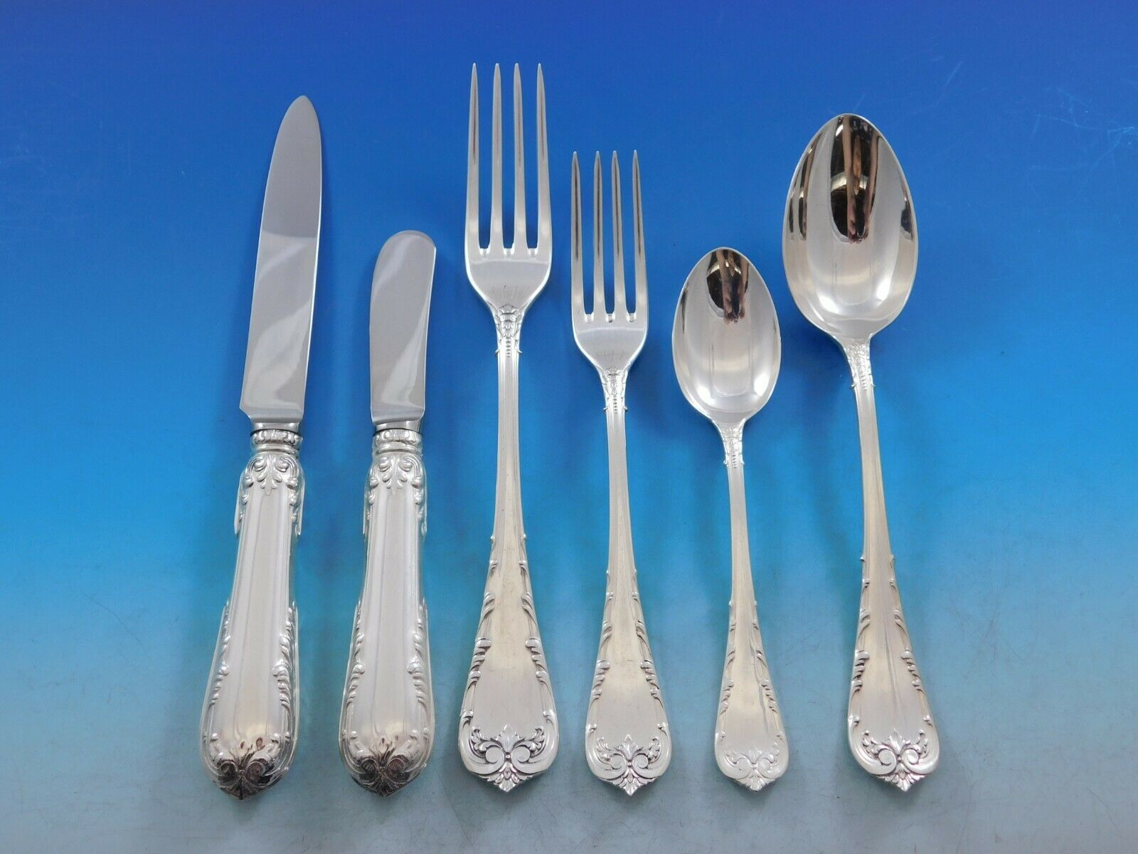 Primary image for Fleury by Fortunoff Italy Sterling Silver Flatware Set Service Dinner 42 pieces