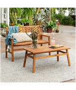 Outdoor Patio Chat Set Solid Wood Acacia 2-PC Balcony Garden Bench Coffe... - £399.67 GBP