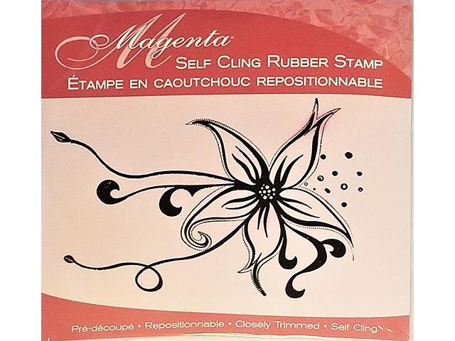 Magenta Large Floral Rubber Cling Stamp #35085-P
