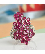 Sterling 925 Silver Platinum Plated Glass Filled Ruby Flower Ring Jewelr... - $123.47