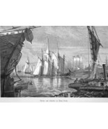 EAST RIVER Scenery Sailboats Ships New York City  - 1883 German Print - $21.60