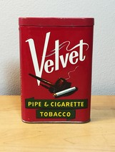 Vintage 50s Velvet Pipe & Cigarette Tobacco tin/packaging 1 5/8oz