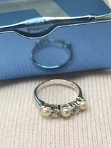 Avon Sterling Silver Freshwater Pearl and CZ Ring 2005 Size 7 (#18-118) - $21.23