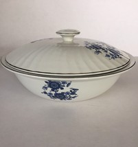 Royal Blue Ironstone Enoch Covered Vegetable Bowl Wedgwood Tunstall Engl... - $49.45