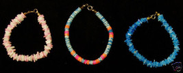 Shell Bracelets Bright Colors Blue Pink Orange Spring Ring Clasps  Lot of 3 - $10.34