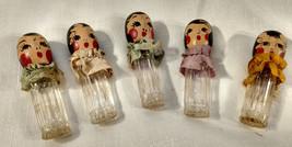 1930s Quinttuplet Set Lot 5 Karoff Perfume Glass Bottle Wood Head Dolls ... - $37.40