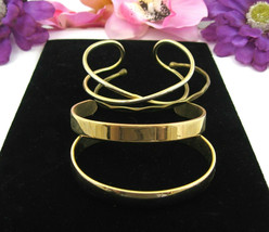 Lot Of 4 Cuff Bracelets Vintage Brass & Goldtone Wide X Thin Smooth Solid Set - $12.99