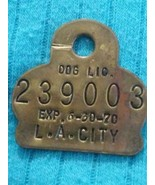 Vintage 1970 Los Angeles City Dog License Tag California - $10.00