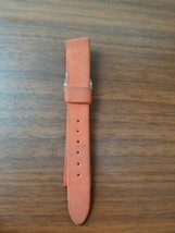 vintage mid century 16MM orange suede Carvelle watch strap silver buckle - $9.90