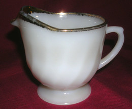 Old Vintage Fire King Oven Ware Creamer White Swirl Gold Trim Kitchen Tool MCM - $12.86