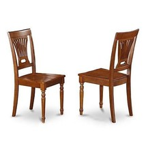 kitchen dining Chair with Wood Seat - Saddle Brown Finish, Set of 2 NEW - $194.98