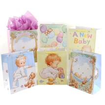 16 3/4W x 22H x 6 1/2G Super Precious Baby Printed On Matte Gift Bag, 6 ... - £100.00 GBP